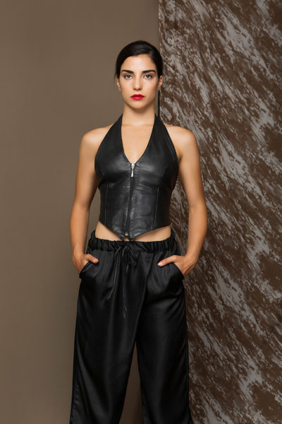 1 Leather Backless Halter Zip Top TV0001