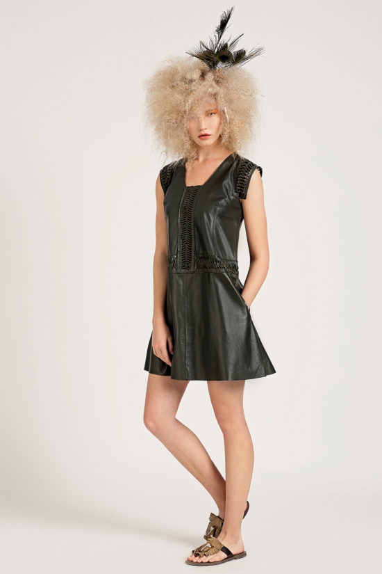 1 Leather Cut-Out Swing Dress D0008
