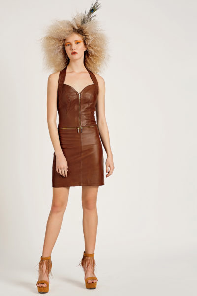 1 Leather Polymorphic Halter Dress D0007