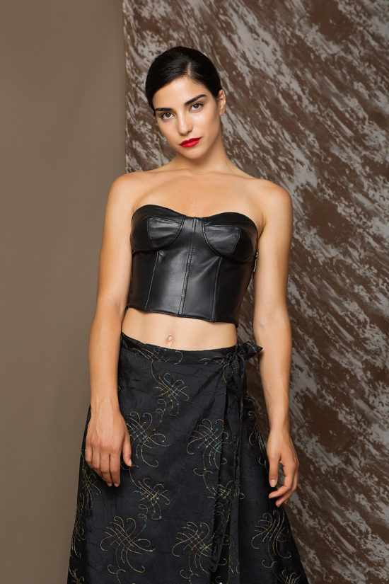 1 Leather Strapless Bralette Top TV0014