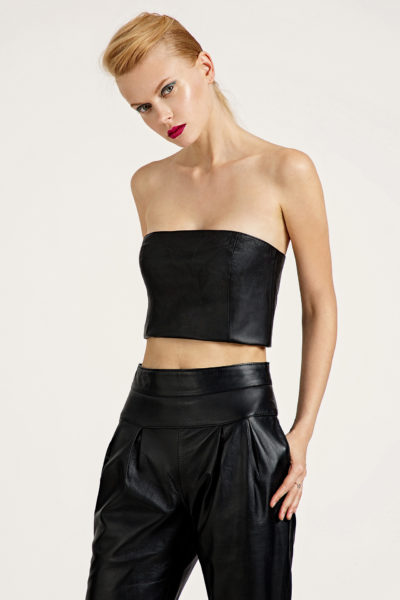 1 Leather Strapless Crop Top TV0018