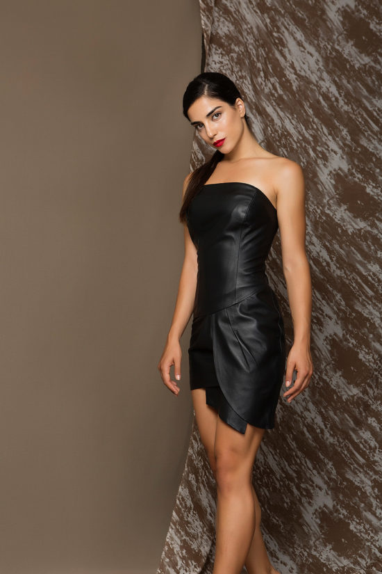 1 Strapless Leather Nappa Dress D0005