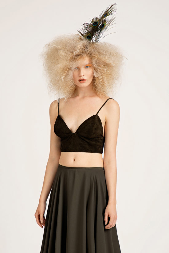 1 Suede Cropped Bralette Top TV0024