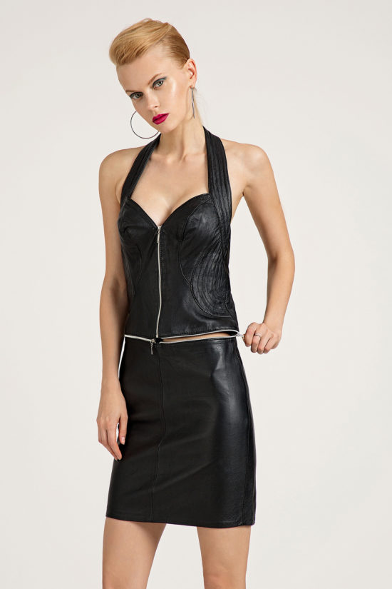 10 Leather Polymorphic Halter Dress D0007