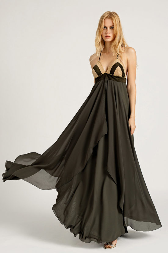 1Leather & Chiffon Maxi Dress D0004
