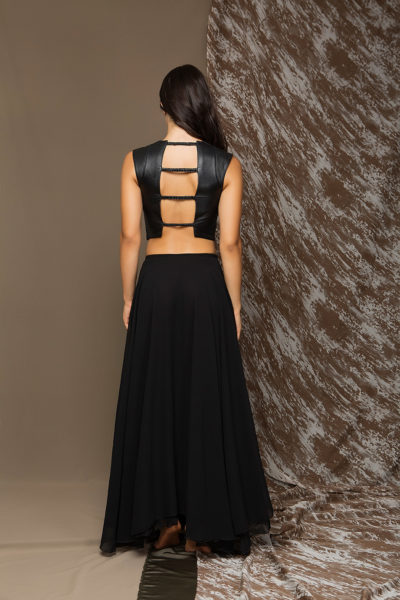 2 Leather Backless Top With Stretch Strips TV0010