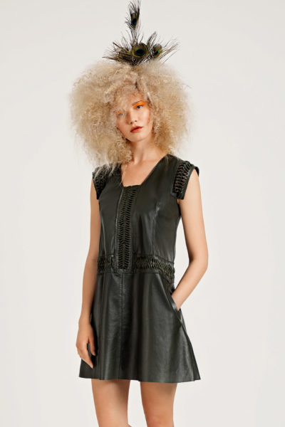 2 Leather Cut-Out Swing Dress D0008