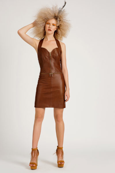 2 Leather Polymorphic Halter Dress D0007