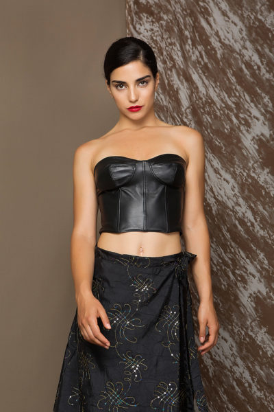 2 Leather Strapless Bralette Top TV0014