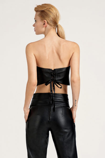 2 Leather Strapless Crop Top TV0018