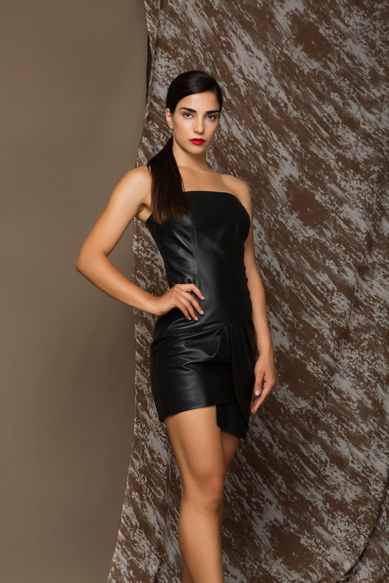 2 Strapless Leather Nappa Dress D0005