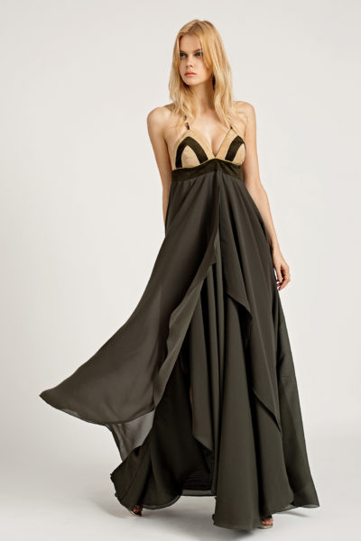 2Leather & Chiffon Maxi Dress D0004