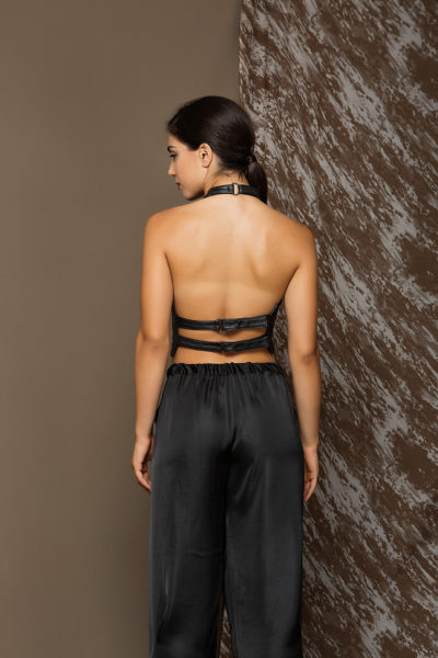 3 Leather Backless Halter Zip Top TV0001