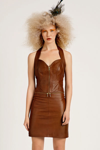 3 Leather Polymorphic Halter Dress D0007
