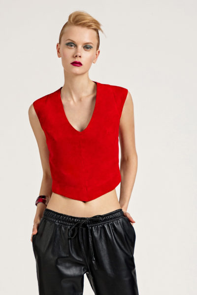 3 Suede Backless Top With Stretch Strips TV0011