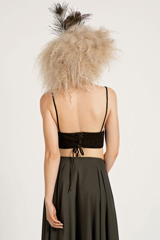 3 Suede Cropped Bralette Top TV0024