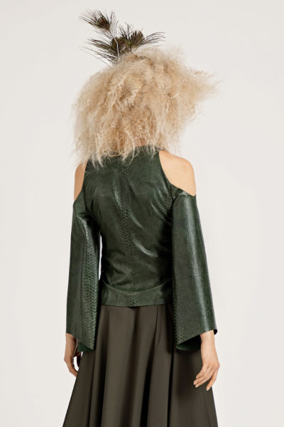 4 Leather Cold-Shoulder Wrap Jacket J0003