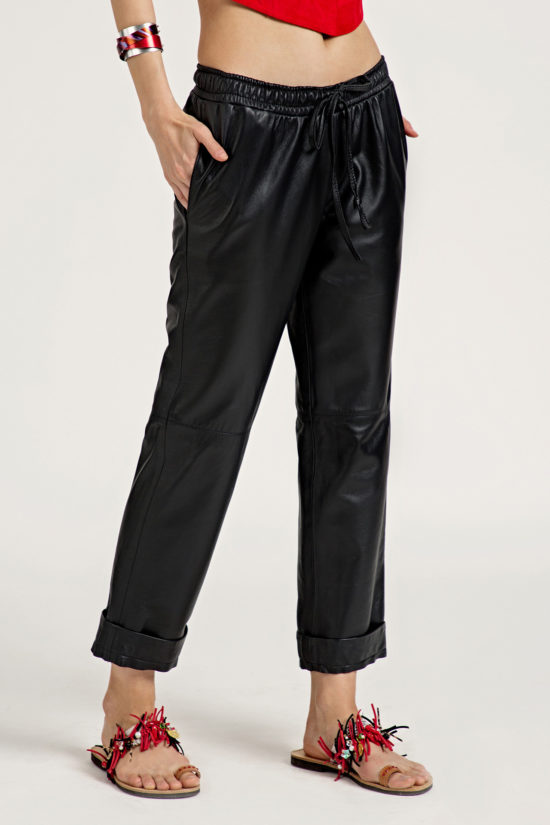4 Leather Low Slung Trousers TP0001