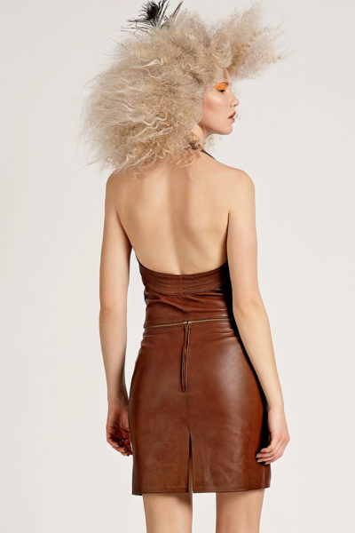 4 Leather Polymorphic Halter Dress D0007
