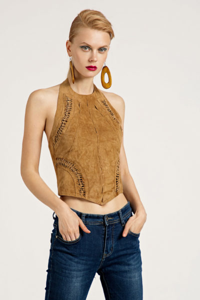 4 Suede Lace-Up Halter Top TV0008