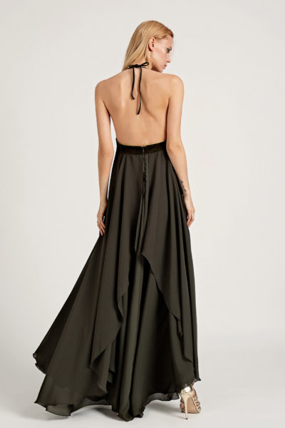 4Leather & Chiffon Maxi Dress D0004