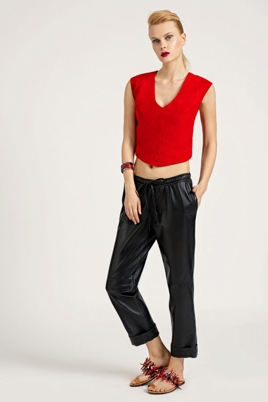 5 Leather Low Slung Trousers TP0001