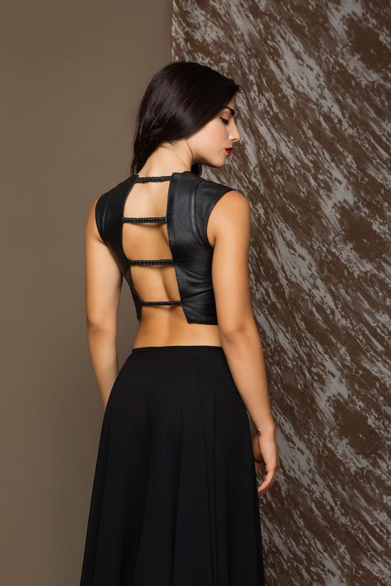 6 Leather Backless Top With Stretch Strips TV0010